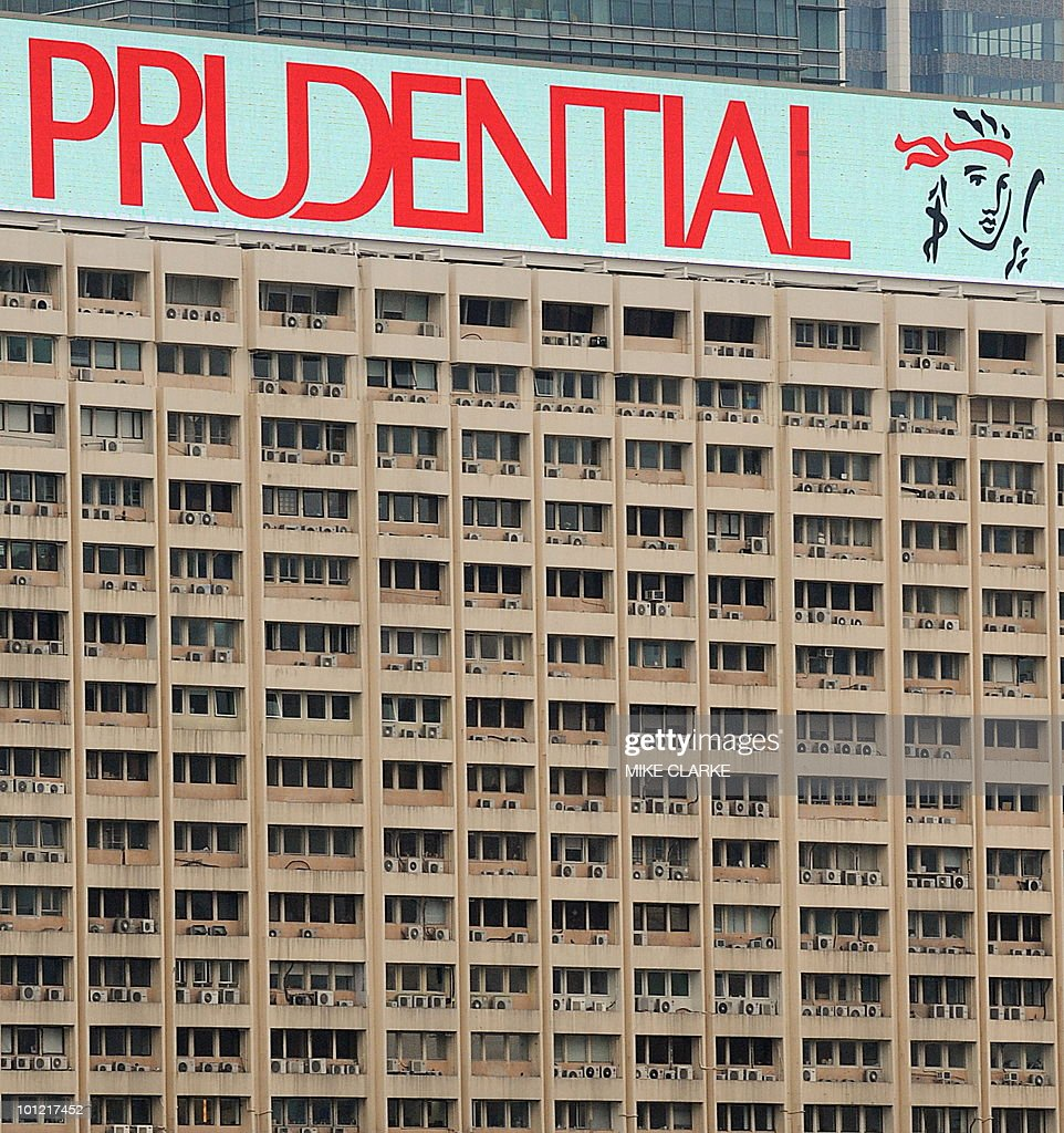 A file picture taken on March 9 2010 shows a huge advertising board for British insuruer Prudential on the top of a building in Hong Kong British...