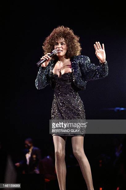 A file picture taken on May 18 1988 in Paris shows US singer Whitney Houston performing at the POPB Grammywinning pop legend and actress Whitney...
