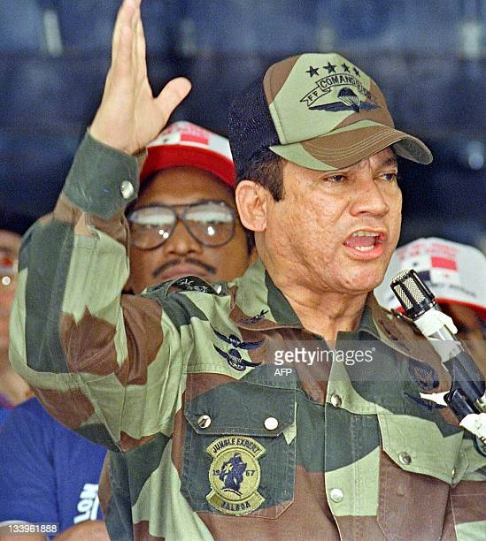 A file picture taken on May 20 1998 shows Panama's General Manuel Antonio Noriega speaking in Panama City during the presentation of colors to the...