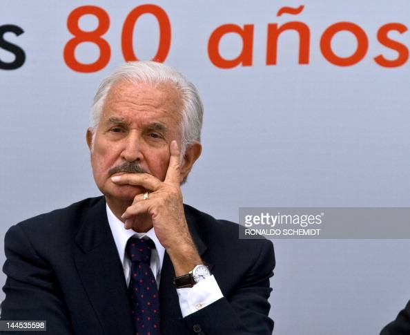 File picture taken on November 17 2008 of Mexican writer Carlos Fuentes listening to Spanish ex Prime Minister Felipe Gonzalez' s speech during a...