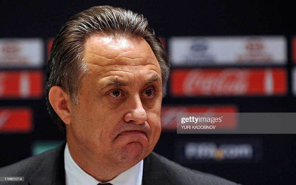A file picture taken on September 30, 2012, shows Russian Sports Minister Vitaly Mutko attending a news conference in Moscow. Mutko called today to build 'beautiful stadiums' for the FIFA World Cup-2018 in Russia to attract more spectators to the stands to watch the 'big game.'