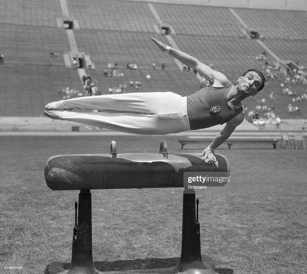 Filed 8/13/1932Istavan Pelle of Hungary who placed first in Pommel Horse event of the Gymnastics competition in the Olympic Games in Los Angeles