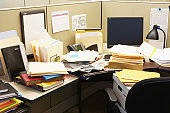 Files and computer in office