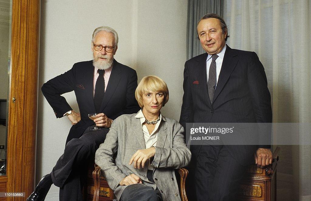 Files pictures of Francois Sagan in Paris France on October 1988 From left Francois Nourissier Francoise Sagan and Guy Dupre