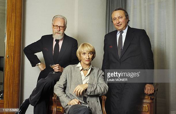 Files pictures of Francois Sagan in Paris France on October 1988 From left Francois Nourissier Francoise Sagan and Guy Dupre