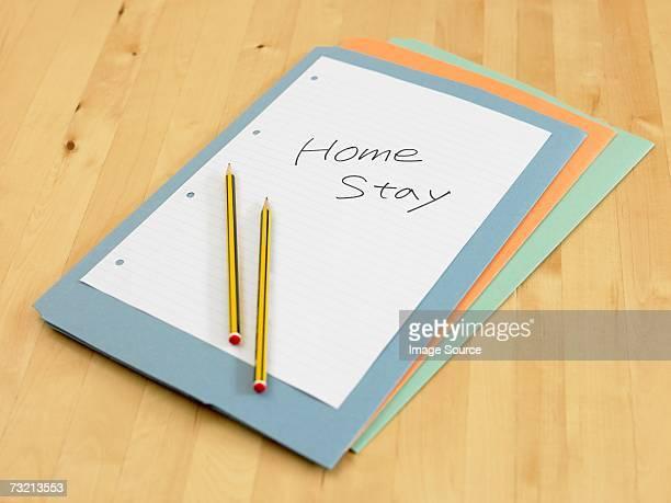 ファイルには、紙と鉛筆