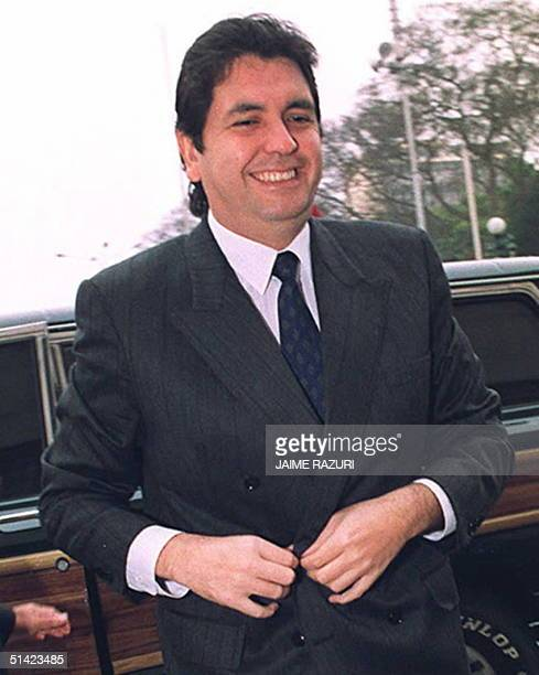 This 10 September 1991 file photo shows former Peruvian President Alan Garcia in Lima An international arrest warrant has been issued for Garcia who...