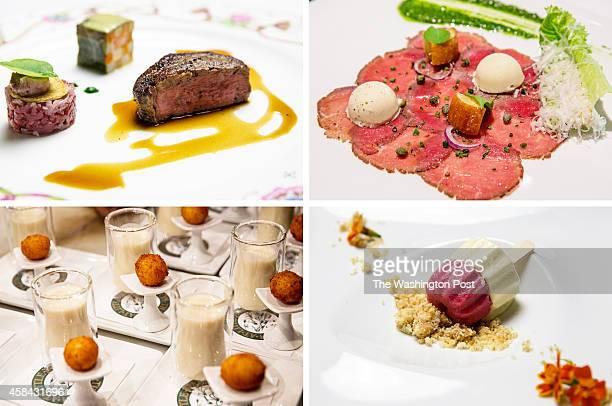 Filet de Boeuf de Wagyu Carré Jardinier et Tartare au Poivre de Cassis TOP RIGHT Carpaccio of HerbCrusted Baby Lamb Loin with Caesar Salad Ice Cream...