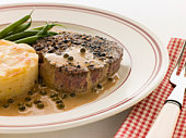 Filet Mignon au Poirve' with French Beans and Pomme Anna