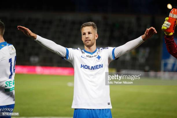 Filip Dagerstal of IFK Norrkoping celebrates after the victory during the Allsvenskan match between IFK Norrkoping and Jonkopings Sodra IF at...