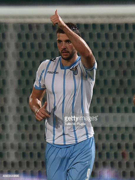 Filip Djordjevic of Lazio celebrates after scoring his team's third goal during the Serie A match between US Citta di Palermo and SS Lazio at Stadio...