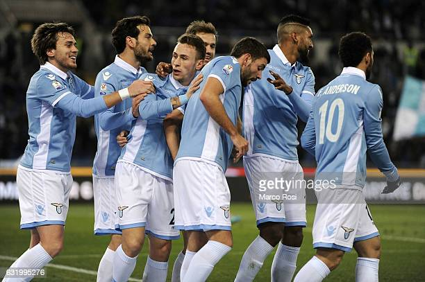 Filip Djordjevic of SS Lazio celebrates a opening goal during the TIM Cup match between SS Lazio and Genoa CFC at Olimpico Stadium on January 18 2017...
