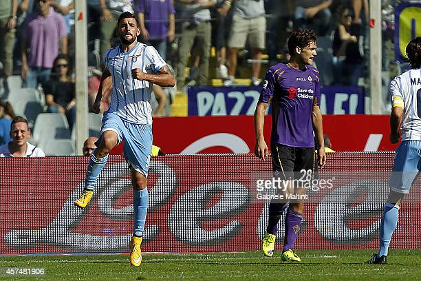 Filip Djordjevic of SS Lazio celebrates after scoring a goal during the Serie A match between ACF Fiorentina and SS Lazio at Stadio Artemio Franchi...