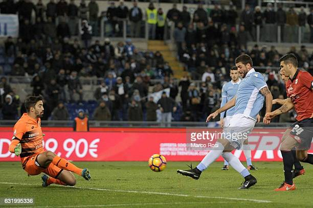 Filip Djordjevic of SS Lazio scores a opening goal during the TIM Cup match between SS Lazio and Genoa CFC at Olimpico Stadium on January 18 2017 in...