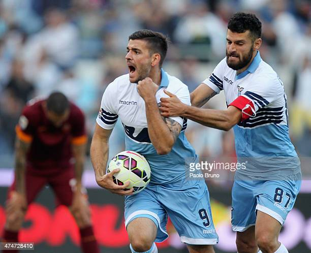 Filip Djordjevic with his teammate Antonio Candreva of SS Lazio celebrates after scoring the team's first goal during the Serie A match between SS...