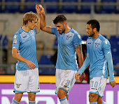 Filip Djordjevic with his teammates of SS Lazio celebrates after scoring the opening goal during the Serie A match between SS Lazio and Genoa CFC at...