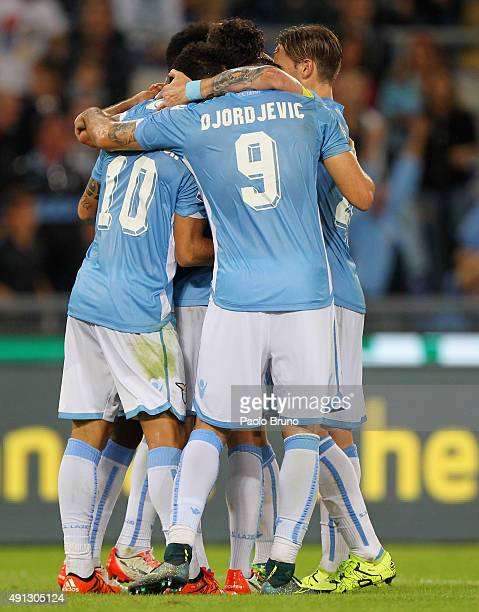 Filip Djordjevic with his teammates of SS Lazio celebrates after scoring the team's second goal during the Serie A match between SS Lazio and...