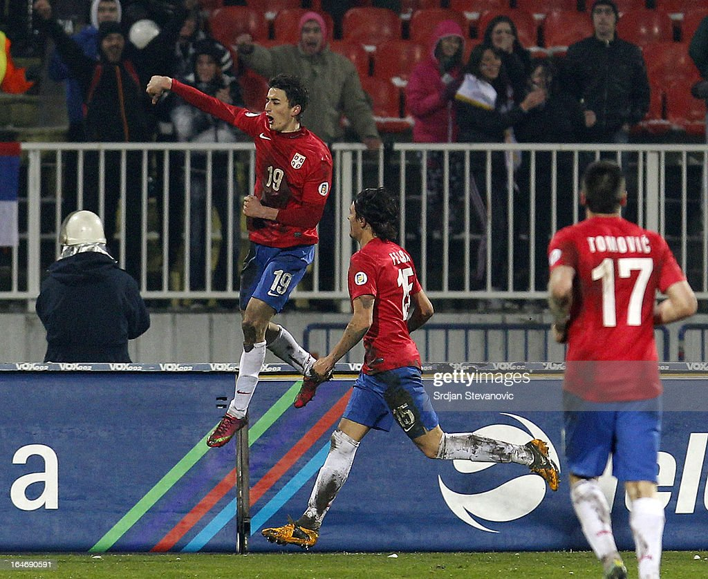 Filip Djuricic (L) of Serbia with his team-mates Ljubomir Fejsa (C) and Nenad Tomovic (R) after scoring during the FIFA 2014 World Cup Qualifier between Serbia and Scotland at Karadjordje Stadium on March 26, 2013 in Novi Sad, Serbia