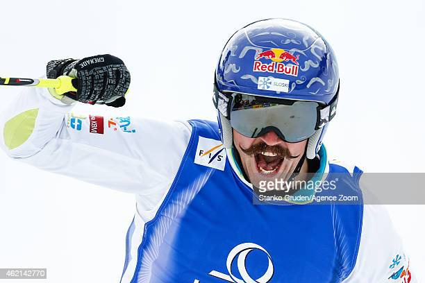 Filip Flisar of Slovenia takes 1st place during the FIS Freestyle Ski World Championships Men's and Women's Ski Cross on January 25 2015 in...