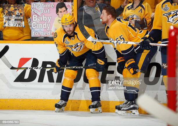 Filip Forsberg of the Nashville Predators and Cody McLeod prepare for the game during warmups before Game Six of the 2017 NHL Stanley Cup Final...