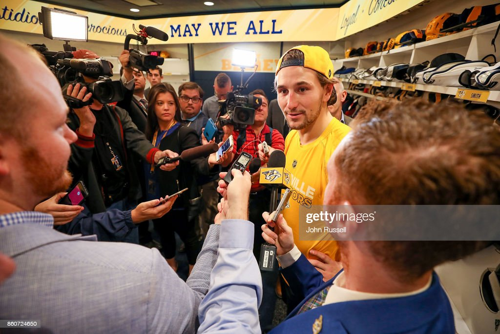 Filip Forsberg #9 of the Nashville Predators answers questions from the media following a 4-1 win against the Dallas Stars during an NHL game at Bridgestone Arena on October 12, 2017 in Nashville, Tennessee.