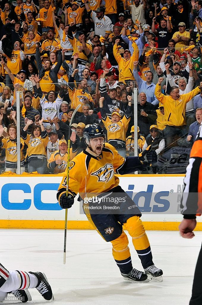 <a gi-track='captionPersonalityLinkClicked' href=/galleries/search?phrase=Filip+Forsberg&family=editorial&specificpeople=8768623 ng-click='$event.stopPropagation()'>Filip Forsberg</a> #9 of the Nashville Predators celebrates a goal against the Chicago Blackhawks in the second period of Game Two of the Western Conference Quarterfinals during the 2015 NHL Stanley Cup Playoffs at Bridgestone Arena on April 17, 2015 in Nashville, Tennessee.