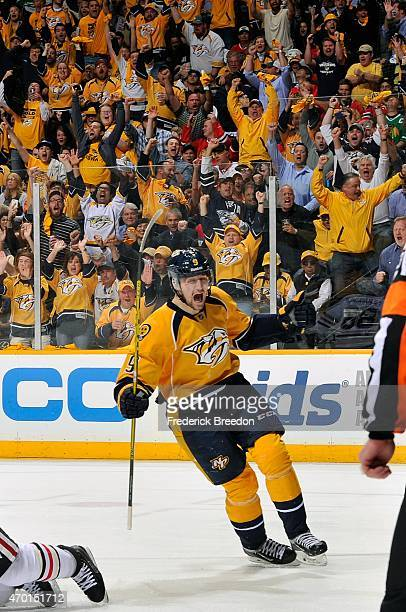 Filip Forsberg of the Nashville Predators celebrates a goal against the Chicago Blackhawks in the second period of Game Two of the Western Conference...