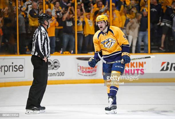 Filip Forsberg of the Nashville Predators celebrates his goal against the Chicago Blackhawks in Game Three of the Western Conference First Round...