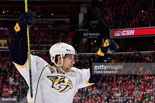 Filip Forsberg of the Nashville Predators celebrates his second period goal during a game against the Washington Capitals at Verizon Center on March...