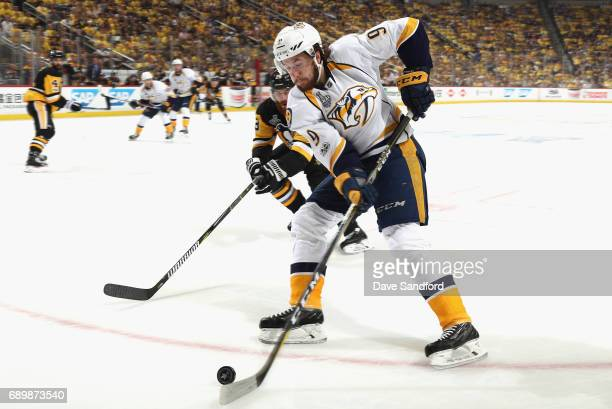 Filip Forsberg of the Nashville Predators controls the puck during the first period of Game One of the 2017 NHL Stanley Cup Final against the...