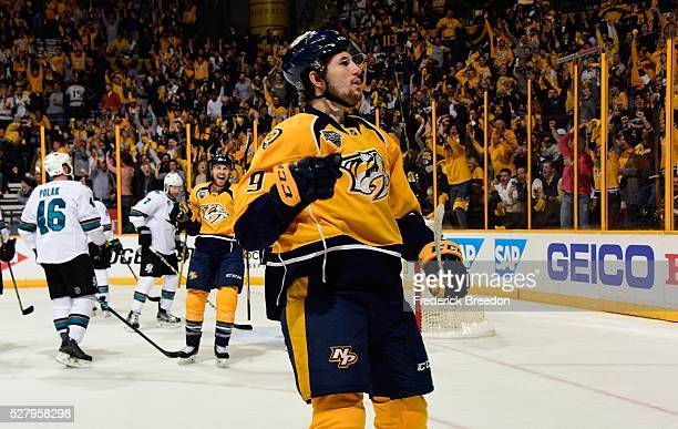 Filip Forsberg of the Nashville Predators reacts after scoring a goal against the San Jose Sharks during the third period of Game Three of the...