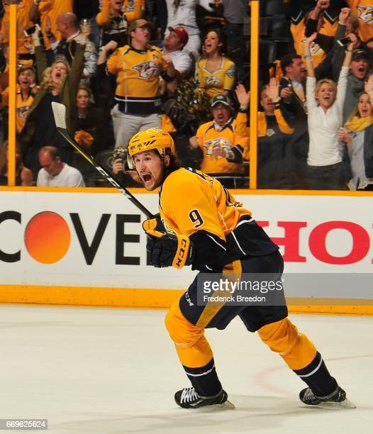 Filip Forsberg of the Nashville Predators reacts after scoring the gametying goal against the Chicago Blackhawks during the third period in Game...