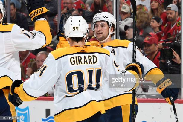Filip Forsberg of the Nashville Predators reacts after scoring against the Chicago Blackhawks in the second period at the United Center on October 14...