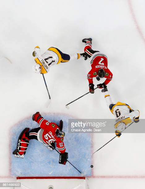 Filip Forsberg of the Nashville Predators scores on goalie Corey Crawford of the Chicago Blackhawks in the second period at the United Center on...