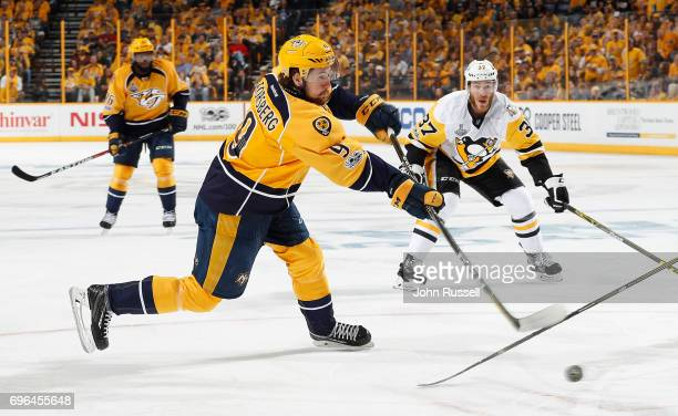Filip Forsberg of the Nashville Predators shoots the puck against the Pittsburgh Penguins during Game Three of the 2017 NHL Stanley Cup Final at...
