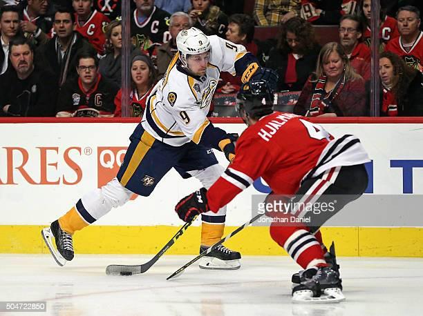 Filip Forsberg of the Nashville Predators shoots the puck past Niklas Hjalmarsson of the Chicago Blackhawks at the United Center on January 12 2016...