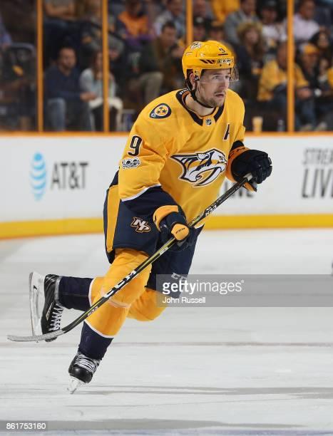 Filip Forsberg of the Nashville Predators skates against the Dallas Stars during an NHL game at Bridgestone Arena on October 12 2017 in Nashville...