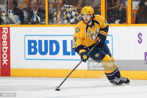 Filip Forsberg of the Nashville Predators skates against the Pittsburgh Penguins during Game Six of the 2017 NHL Stanley Cup Final at Bridgestone...