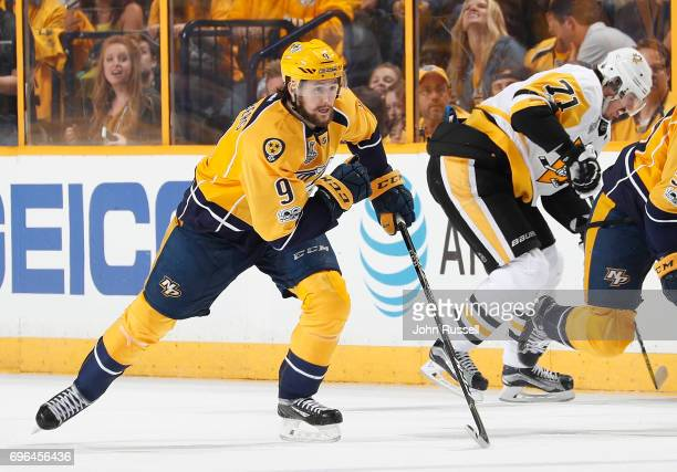 Filip Forsberg of the Nashville Predators skates against the Pittsburgh Penguins during Game Three of the 2017 NHL Stanley Cup Final at Bridgestone...