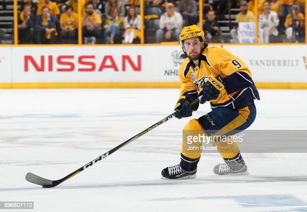 Filip Forsberg of the Nashville Predators skates against the Pittsburgh Penguins during Game Four of the 2017 NHL Stanley Cup Final at Bridgestone...