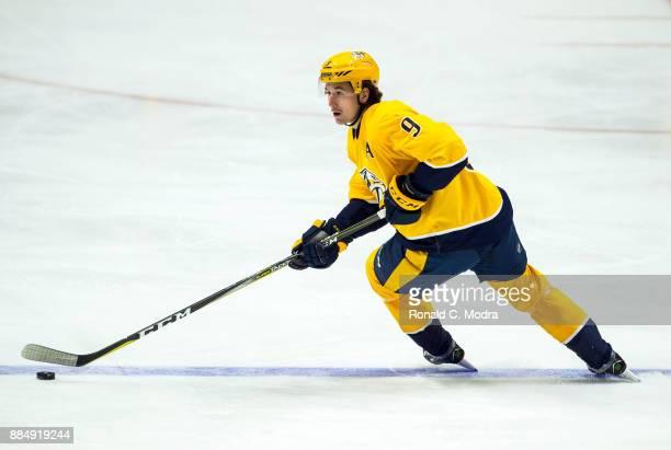 Filip Forsberg of the Nashville Predators skates during a NHL game against the Pittsburgh Penguins at Bridgestone Arena on November 11 2017 in...