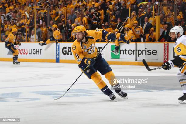 Filip Forsberg of the Nashville Predators skates on the forecheck in Game Six of the 2017 NHL Stanley Cup Final against the Pittsburgh Penguins at...