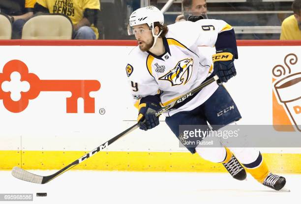 Filip Forsberg of the Nashville Predators skates with the puck during the second period of Game Five of the 2017 NHL Stanley Cup Final against the...