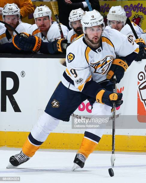 Filip Forsberg of the Nashville Predators skates with the puck in Game One of the Western Conference Final against the Anaheim Ducks during the 2017...