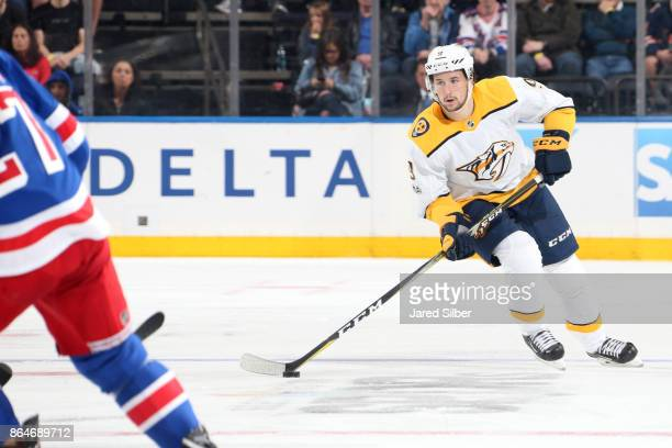 Filip Forsberg of the Nashville Predators skates with the puck against the New York Rangers at Madison Square Garden on October 21 2017 in New York...