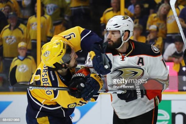 Filip Forsberg of the Nashville Predators tangles with Ryan Kesler of the Anaheim Ducks during the third period in Game Four of the Western...