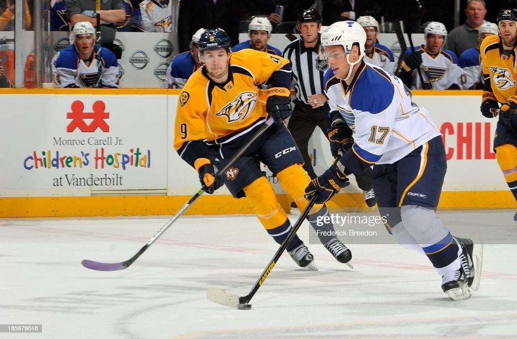 <a gi-track='captionPersonalityLinkClicked' href=/galleries/search?phrase=Filip+Forsberg&family=editorial&specificpeople=8768623 ng-click='$event.stopPropagation()'>Filip Forsberg</a> #9 skates against <a gi-track='captionPersonalityLinkClicked' href=/galleries/search?phrase=Vladimir+Sobotka&family=editorial&specificpeople=716736 ng-click='$event.stopPropagation()'>Vladimir Sobotka</a> #17 of the St. Louis Blues at Bridgestone Arena on October 26, 2013 in Nashville, Tennessee.