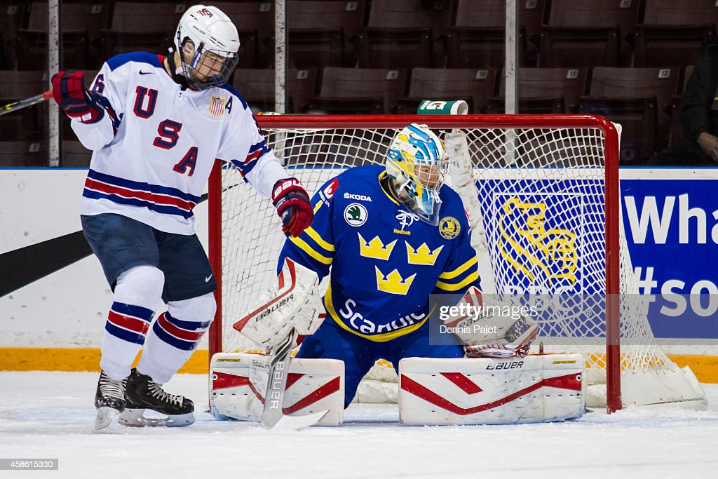 Filip Gustavsson #1 of Sweden defende the net against Nick Pastujov #36 of the United States during semifinals at the World Under-17 Hockey Challenge on November 7, 2014 at the RBC Centre in Sarnia, Ontario.