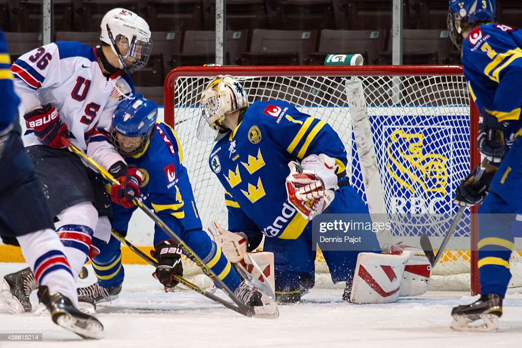 FIlip Gustavsson #1 of Sweden defends the net against Nick Pastujov #36 of the United States during semifinals at the World Under-17 Hockey Challenge on November 7, 2014 at the RBC Centre in Sarnia, Ontario.