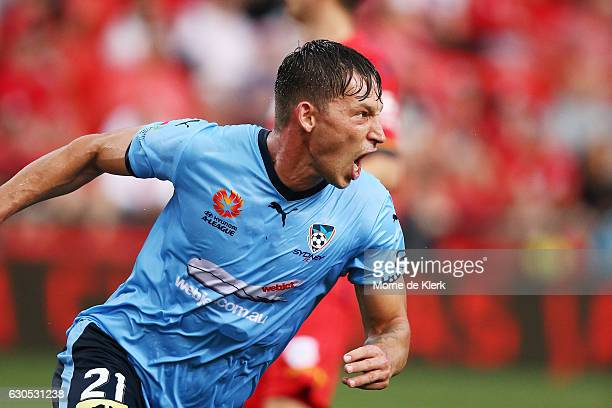 Filip Holosko of Sydney celebrates after scoring a goal during the round 12 ALeague match between Adelaide United and Sydney FC at Coopers Stadium on...